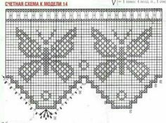 2 of 2 Butterfly Curtain Granny Square Crochet Pattern, Crochet Borders, Crochet Motif, Crochet Doilies, Crochet Stitches, Knit Crochet, Crochet Patterns, Crochet Curtains, Crochet Tablecloth