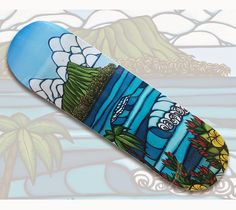 51161b02b5a Diamond Head Limited Release Surf Art Skateboard by Heather Brown  HeatherBrownArt.com  surfart