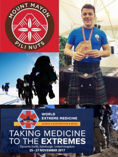 Mount Mayon Pili Nuts were proud to sponsor the International World Extreme Medicine Conference & Expo 2017, which focuses on a number of interrelated Extreme Medical fields ranging from Disaster & Humanitarian, Expedition, Endurance and Extreme Sport and Space! Working world-renowned experts in their field – from Arctic explorers to vascular surgeons, remote medics to NASA.  Pictured on the right is Paramedic Jamie Pattison, about to crack open his pack of pilis!