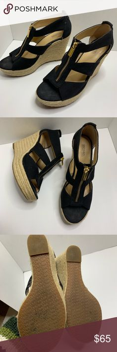 4d7199437fcd Michael kors black espadrilles wedge sandals Size 7. Excellent condition.  Worn twice. From