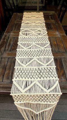 Handwoven Macrame Table Runner Handmade Wedding Table by WallKnot
