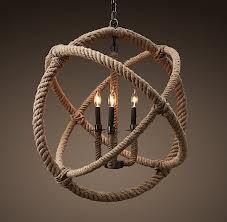 rope and hula hoop chandelier
