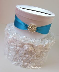 Wedding Card Holder Textured Satin Card Box by LaceyClaireDesigns, $99.00