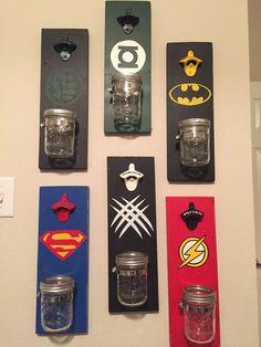 Custom Bottle Opener, superhero, bottle opener, groomsmen gift, hand painted logo, wedding party gift, college football team bottle opener