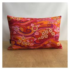 Bolster-Cushion-Cover-Vtg-60s-70s-Psychedelic-Water-Music-Fabric-By-Jonelle
