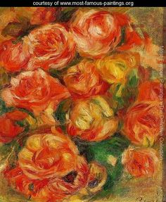 A Bowlful Of Roses - Pierre Auguste Renoir - www.most-famous-paintings.org