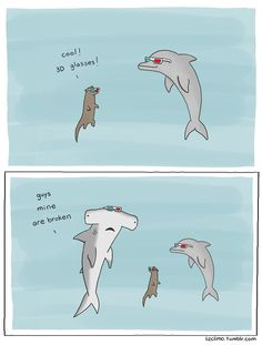 Liz Climo: You're doing it wrong. Hammerhead shark 3D glasses
