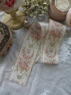 Antique French floral ribbon