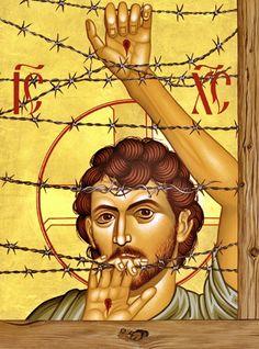 Jesus the refugee (Jason Chesnut) Evening Prayer, Religion Catolica, Byzantine Icons, Pentecost, Orthodox Icons, Sacred Art, Religious Art, Religious Images, Religious Icons