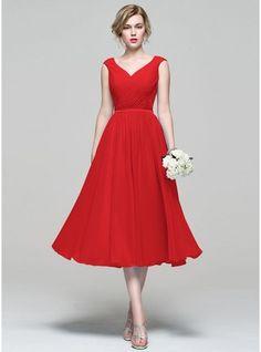 A-Line/Princess V-neck Tea-Length Chiffon Bridesmaid Dress With Ruffle jj