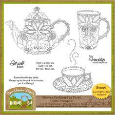 Flower Fashion Tea Party Digital Stamp Set