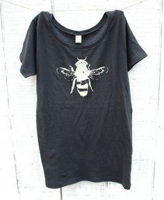Women Tshirt Honey Bee Earth Friendly Grey by naturwrk on Etsy, $25.00