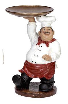 Chef with Tray Figurine Bistro Kitchen Decor, Fat Chef Kitchen Decor, Kitchen Decor Themes, Boho Kitchen, Kitchen Art, Rustic Kitchen, French Kitchen, Organize Life, Chef Pictures