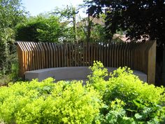 Curved rendered seat with timber back rest from a garden design by Sue Davis of outside-rooms.co.uk