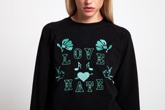 Black Jumper with Vintage Tattoo by SOMF Black Jumper, Graphic Sweatshirt, Tattoo, Clothes For Women, Female, Sweatshirts, Sweaters, Collection, Vintage