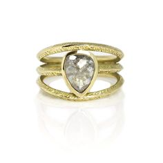 Shop our collection of one of a kind, bespoke rings. Made using fair trade gold and precious ethically sourced gemstones including opals, tourmalines & diamonds. Grey Diamond Ring, Pear Diamond, Contemporary Engagement Rings, Love Ring, Fine Jewelry, Jewellery, Heart Ring, Opal, Jewels