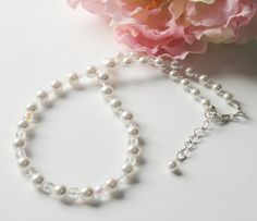 White Pearl Crystal Necklace  Sterling Silver by BijiJewelry