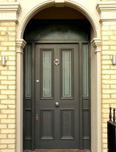 London Doors, Front Door, Victorian / painted frames make the door look bigger. Victorian Front Doors, Grey Front Doors, Exterior Front Doors, Back Doors, Entrance Doors, Georgian Doors, Doorway, Edwardian House, 1930s House