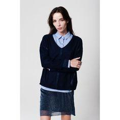 Blue glitter thread fine knit