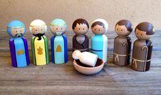 Nativity set peg dolls by KrisTeenyTinys on Etsy Nativity Peg Doll, Wood Peg Dolls, Nativity Crafts, Clothespin Dolls, Christmas Nativity, Christmas Wood, Christmas Crafts, Nativity Sets, Etsy Christmas