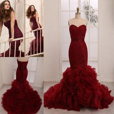 Wholesale Wine Red Wedding Dresses Blair Gossip Girl Leighton Meester Inspired 2015 Amazing Layered Organza Mermaid Bridal Fancy Gowns with Sash Cheap, Free shipping, $182.58/Piece | DHgate Mobile