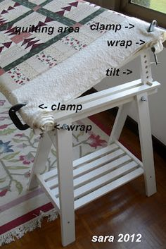 Celebrate Hand Quilting: DIY Ikea hack into hand-quilting frame! Could also turn into a tech drawing table or anything else that might need height adjustment...