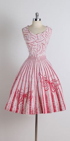Vintage 1950s Red Butterfly Cotton Dress. Wish I could see more detail of the top.