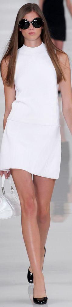 White Shift Dress w Black Accessories via LOOKandLOVEwithLOLO: NYFW Spring 2014 RTW RALPH LAUREN