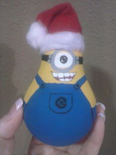 One-eyed Minion painted light bulb Christmas ornament
