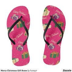 dcd8bd17808f Merry Christmas Gift Boxes Flip Flops - Durable Thong Style Hawaiian Beach  Sandals By Talented Fashion