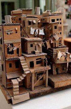 favela 3 // da trisbj - cardboard favela by pamela sullivan Cardboard City, Cardboard Sculpture, Cardboard Crafts, Paper Crafts, Cardboard Design, Cardboard Houses For Kids, Cardboard Mask, Cardboard Model, Cardboard Dollhouse