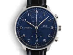 IWC Portugieser Chronograph 40.9MM Watch, Fashioned in Stainless Steel, Featuring a Black Dial, Black Alligator Strap and Automatic Movement