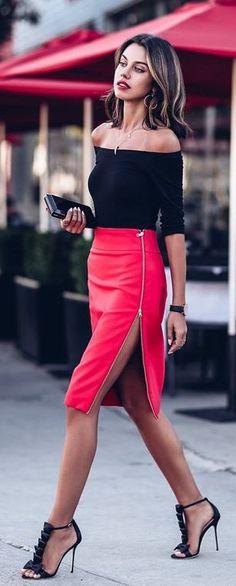 Black Off Shoulder Top / Red Leather Zipped Skirt / Black Sandals