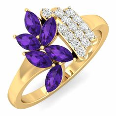 Buy marquise amethyst cluster #ring with #diamonds online with 100% certified, hallmarked & 30 days return policy at goldnstone.com with the best market price. Shop Now: https://www.goldnstone.com/amethyst-aster-ring.html