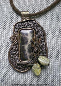 Купить Кулон из кожи с натуральным камнем - кожа натуральная, камни, стекло чешское, фурнитура, стекло