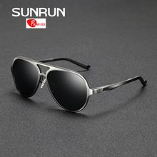 80c5b2a7ed3 SUNRUN Polarized Sunglasses Men Aluminum Frame Large Size Sun Glasses Men  Mirror Eyewear Accessories gafas de sol 8560-in Sunglasses from Men s  Clothing ...