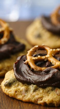 Rich chocolate stout frosting (yes, there's beer in the frosting) and crunchy pretzels take this chocolate chip cookie to a whole new sweet-and-salty level. Expert tip: For best taste, use real butter in the frosting!