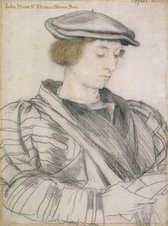 A drawing of John More (1509-1547), son of Thomas More. It is by Hans Holbein. This is a drawing for a larger portrait of the entire More family that was destroyed.