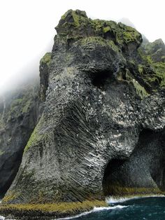 A natural rock formation off the coast of Iceland that looks like an imposing elephant with its trunk dipped in the Atlantic. Located on the island of Heimaey.
