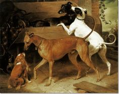 Paintings by Franz Kruger - Greyhounds - Krugers Dogs, 1855