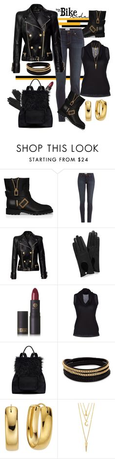 """Going For A Bike Ride"" by helenaymangual ❤ liked on Polyvore featuring Roger Vivier, Paige Denim, Balmain, Mulberry, Lipstick Queen, Cruciani, Elizabeth and James, Vita Fede and BERRICLE"