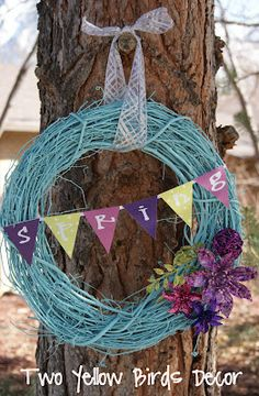 Spring Wreath - spray paint a grapevine wreath and add decor Holiday Wreaths, Holiday Crafts, Holiday Ideas, Spring Wreaths, Outside House Decor, Handmade Crafts, Diy Crafts, Welcome Wreath, Spring Crafts