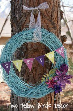 Spray Painted Grapevine Wreath = Fun Spring Wreath!!