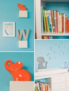 decoração quarto bebe azul turquesa e abobora