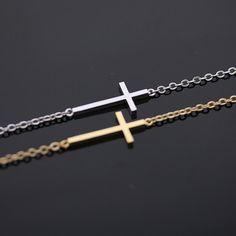 $14 sideways cross + bracelet in gold by bythecoco on Zibbet