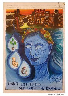 Save Environment Poster Drawing, Save Environment Posters, Environment Painting, Ocean Drawing, Doodle Art Drawing, Earth Drawings, Art Drawings For Kids, Save Water Poster Drawing, Poster On Save Water