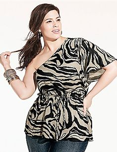 Animal Print One Shoulder Top. This is a real stunner! Hurry, get it now! #lanebryant #beautiful