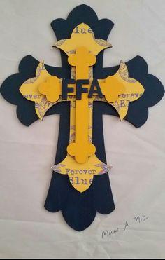 FFA layered wood cross painted decoupaged by MumAMia3 on Etsy #CraftShout