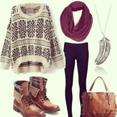 Hipster leggings and sweater