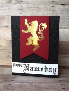 Game of Thrones House Lannister Card by SwordandWhetstone on Etsy https://www.etsy.com/listing/264386098/game-of-thrones-house-lannister-card